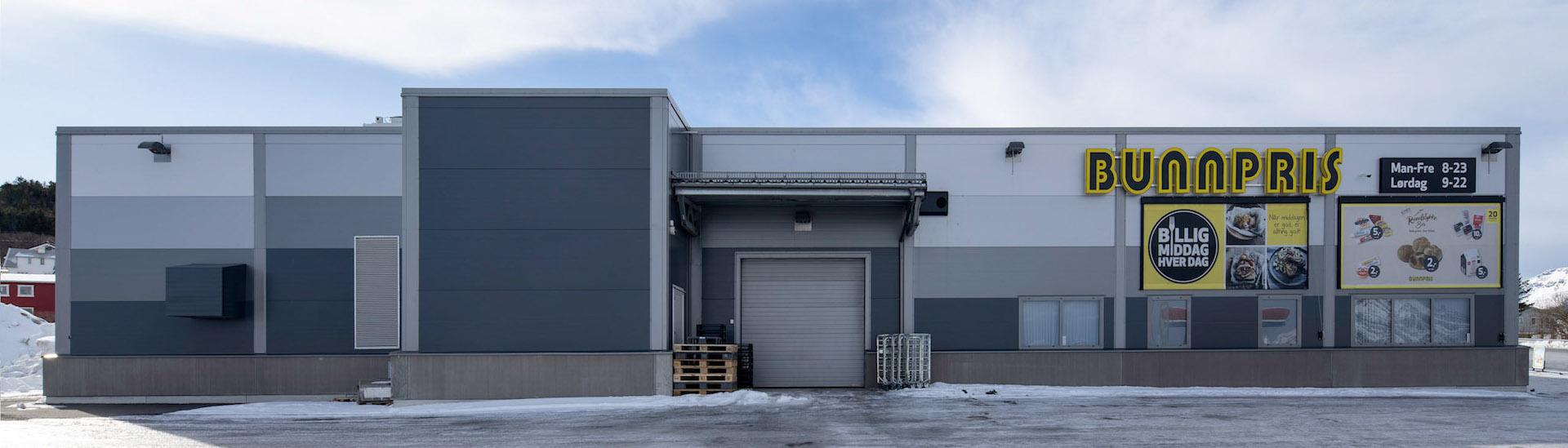 Butikkbygg i stål for Bunnpris Gravdal