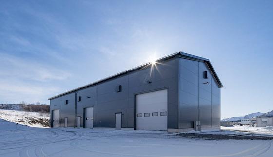 Lagerbygg, logistikkbygg i stål for Sjøhaug Bygg Lofoten